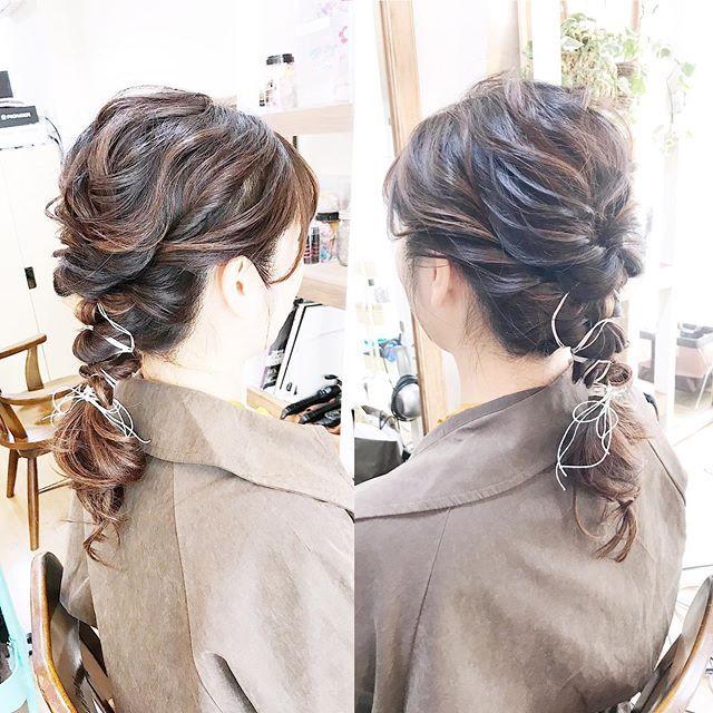 紐で編みおろしアレンジ カジュアルで可愛い  Hair Set &Spa  Ro…