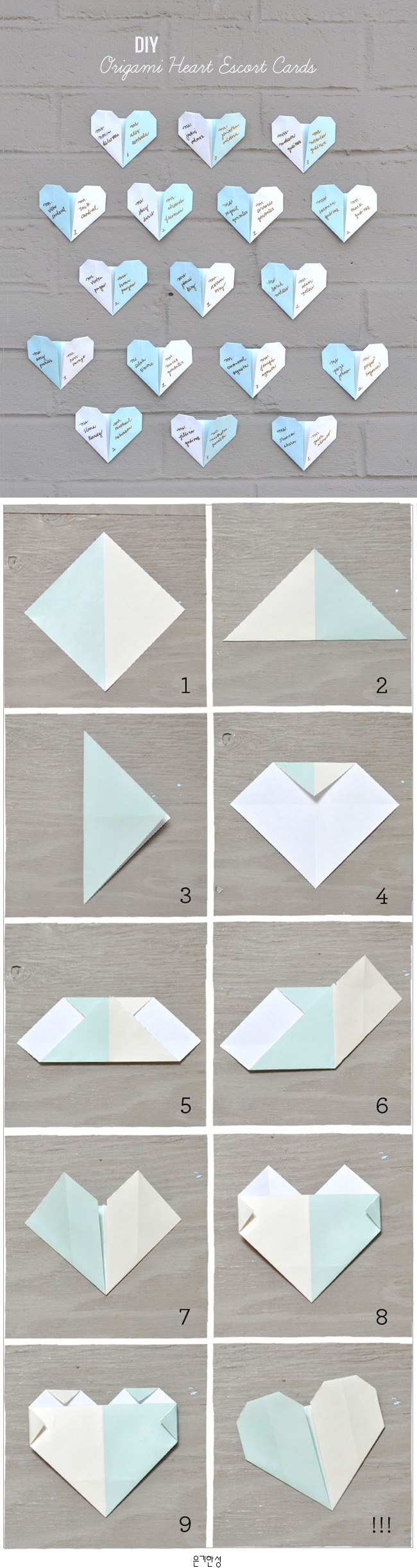 Diy origami heart escort cards stuff to try diy origami heart escort cards jeuxipadfo Choice Image