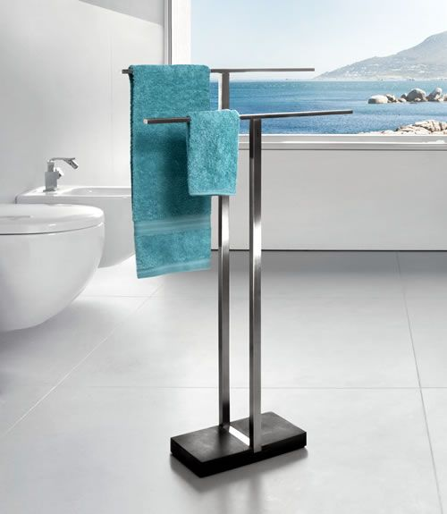 A Freestanding Towel Rack Can Be Positioned Anywhere In The Bathroom  Without Having To Drill Into
