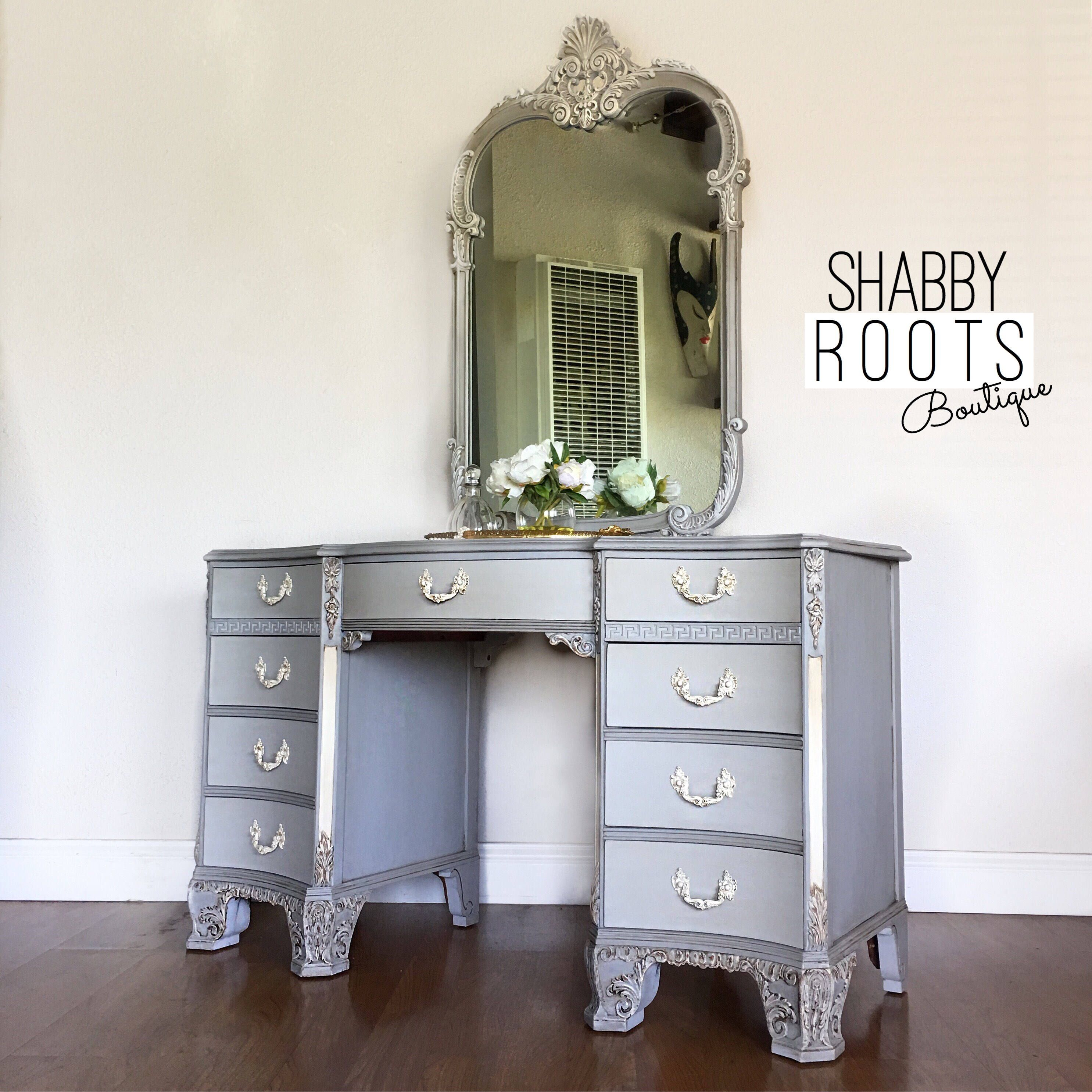 Reserved for rosalyn antique vanity light grey shabby chic french antique vanity light grey shabby chic french vintage dresser makeup vanity solid aloadofball Image collections