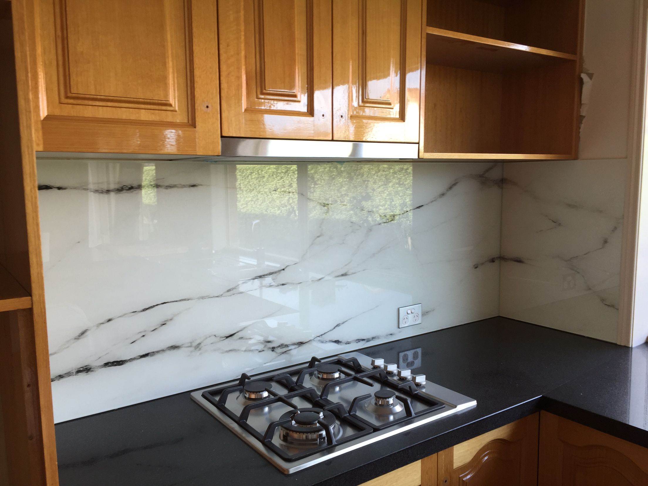 Marble design printed glass Splashback for a kitchen makeover ...