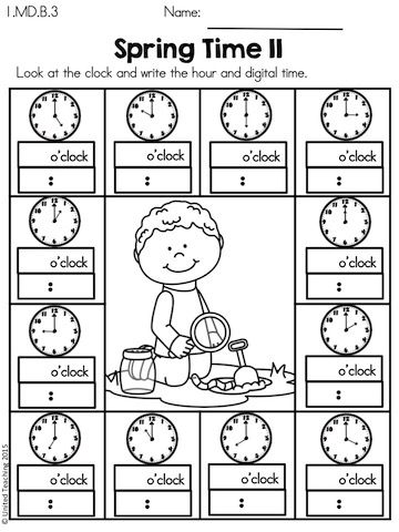 Spring Time >> Write the o'clock hour and digital time