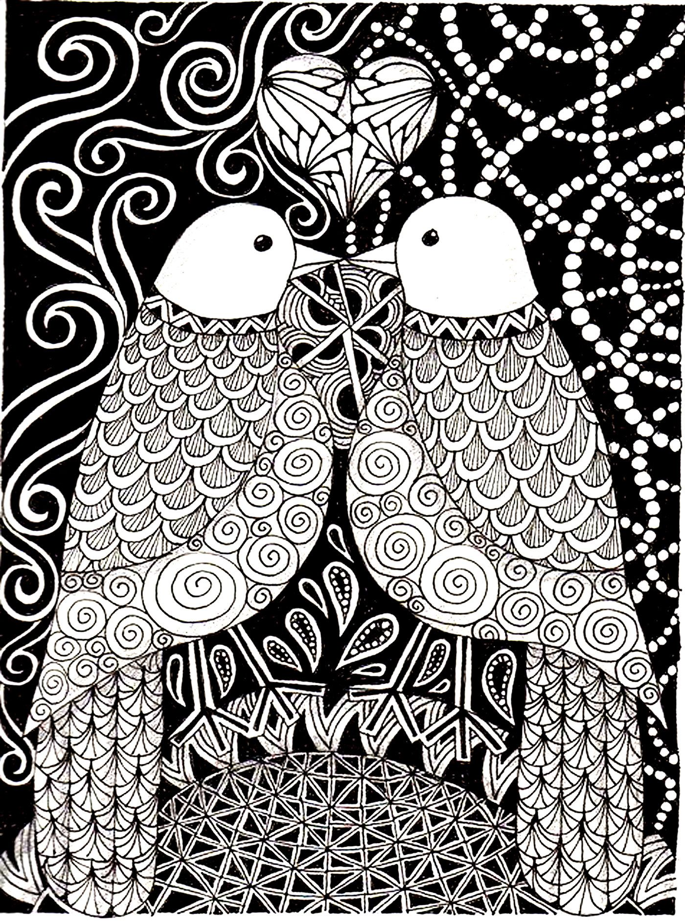 free coloring page coloring-adult-love-birds. two birds in love