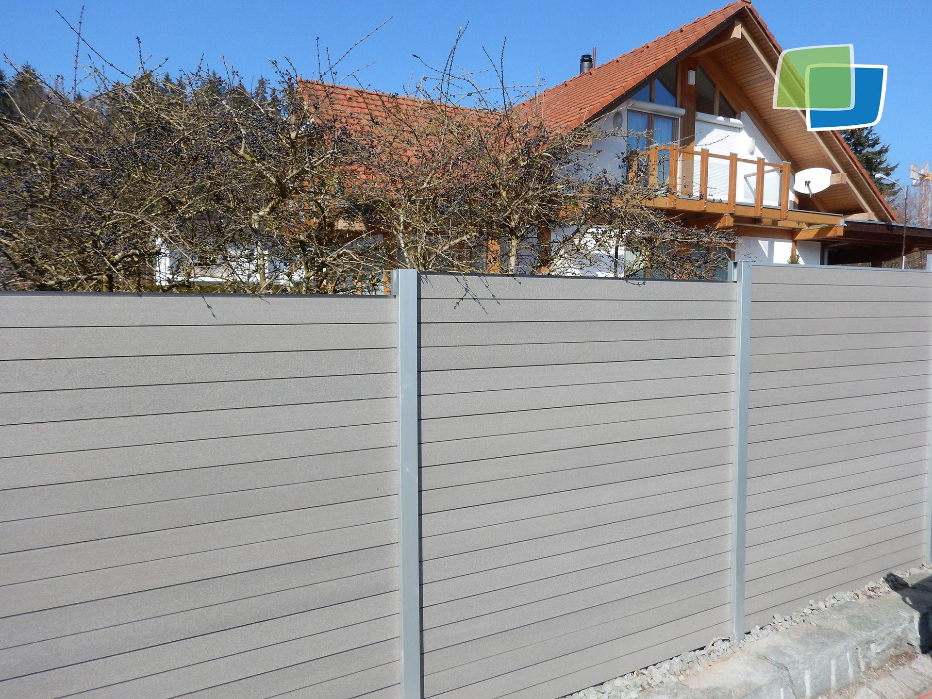 Wpc Sichtschutz Mit Aluminiumpfosten Sichtschutz Garten