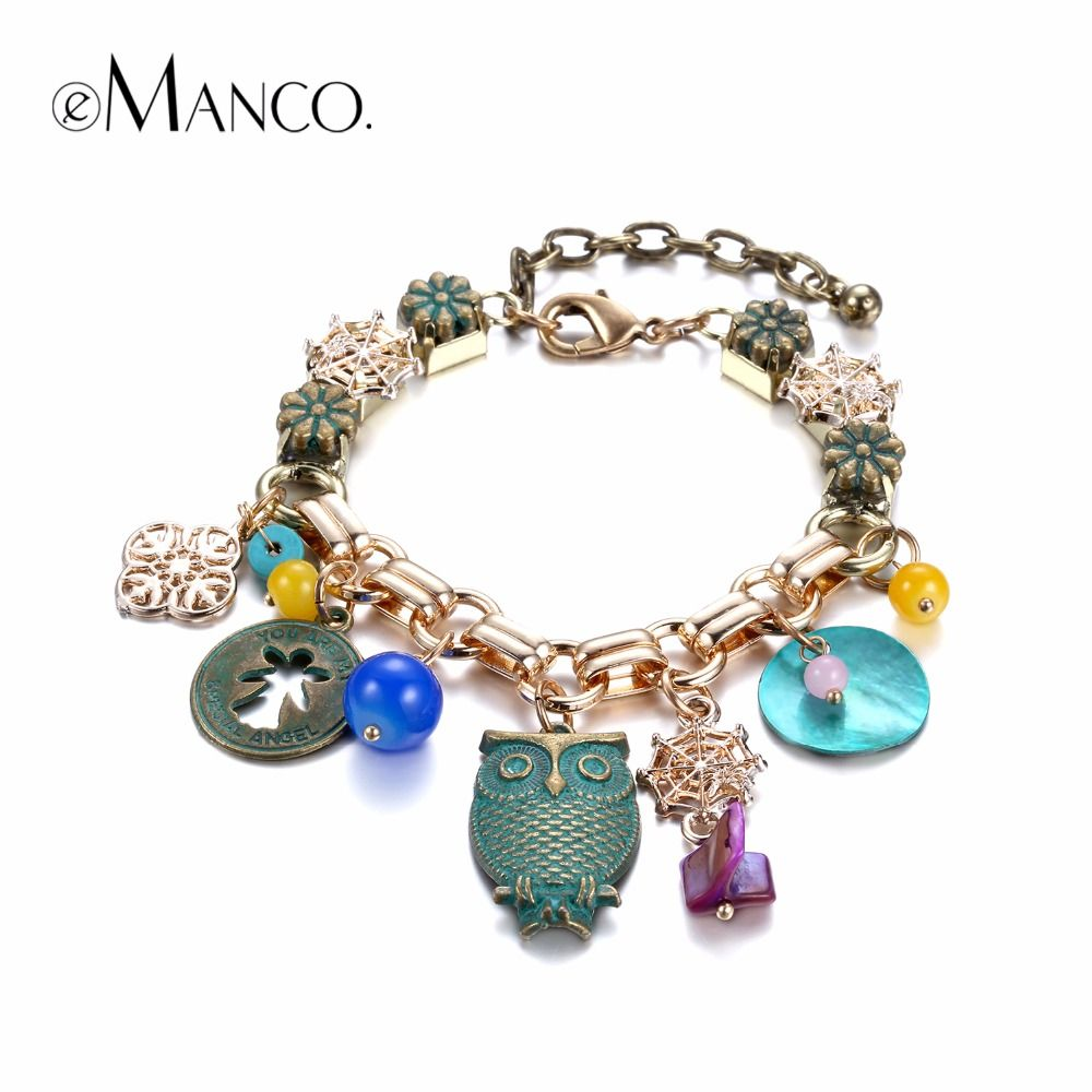 Ethnic handmade owl charms bracelets u bangles for women shell coins