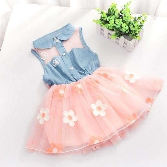 Kids Baby Girl Clothes Summer Flower Sleeveless Dress Party Tutu Clothing Outfit