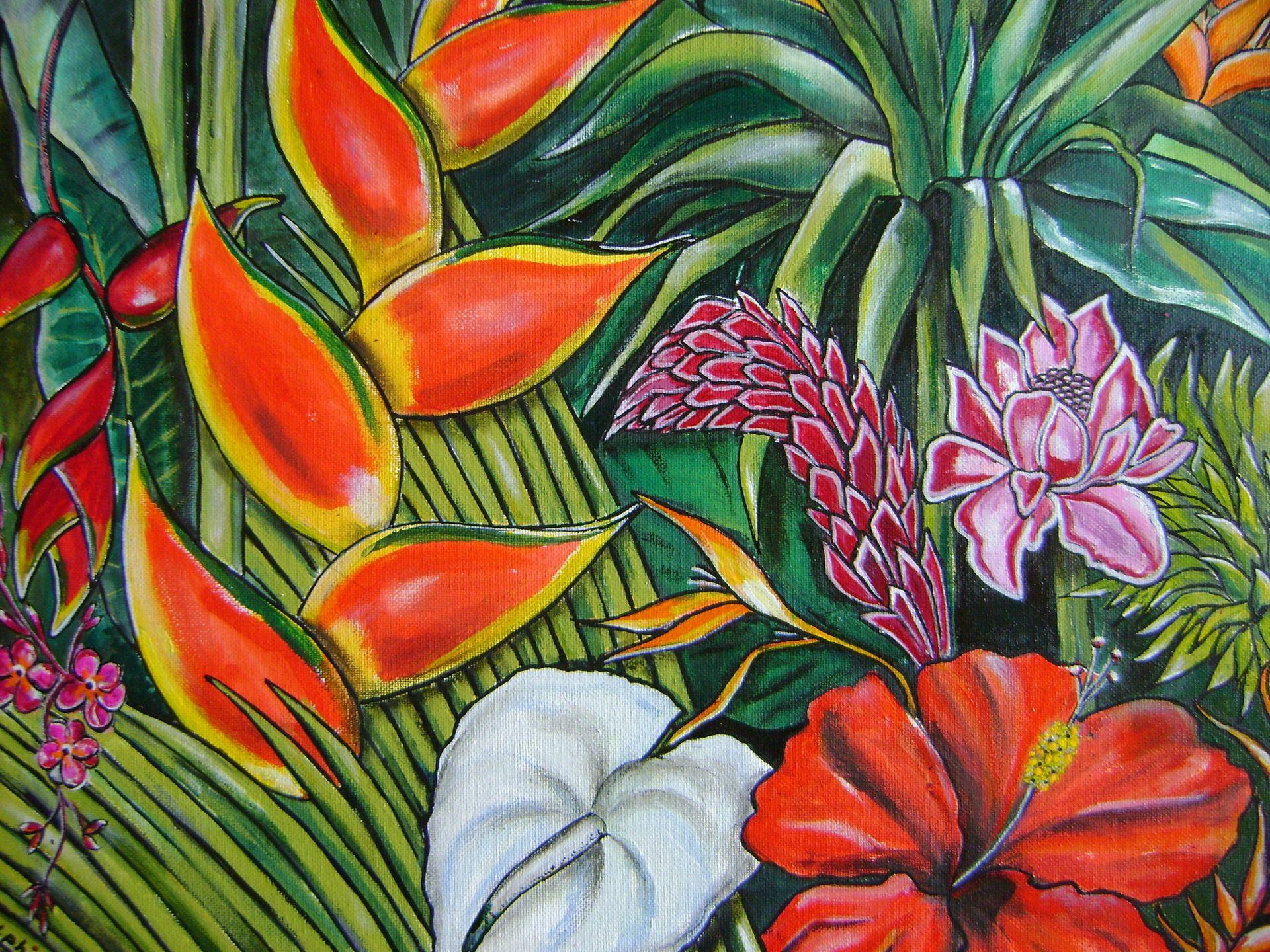 tableau fleurs des iles commande d fi de mai peintures par sylphide de jolies cr ations. Black Bedroom Furniture Sets. Home Design Ideas