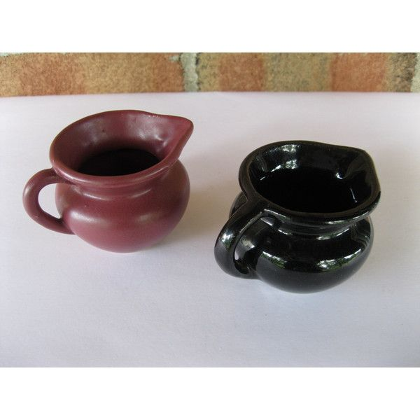 Zanesville Pottery Creamer Vintage High Gloss Black only ($5.95) ❤ liked on Polyvore featuring home, kitchen & dining and serveware