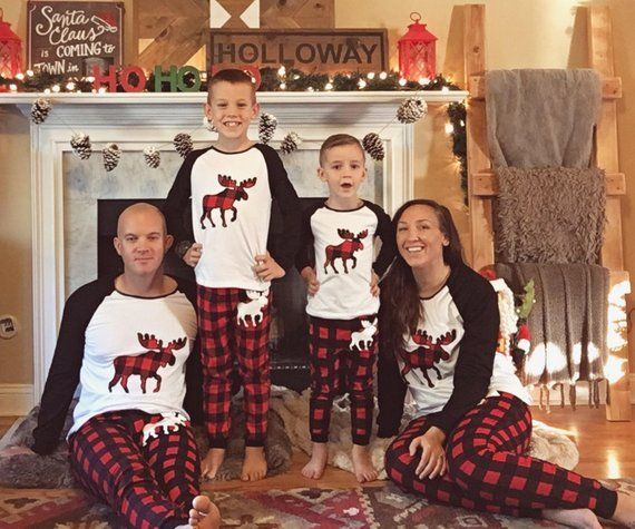 FAST SHIPPING Christmas family matching buffalo plaid moose holiday pajamas  flannel long sleeve adul 40503f9ea