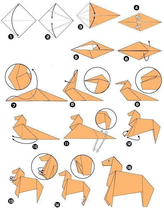 tuto origami cheval