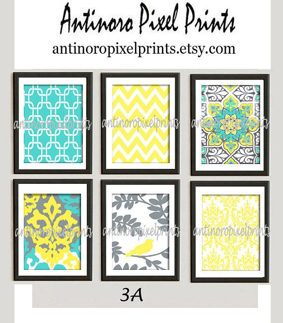 Digital Print Wall Art Yellow Turquoise Grey Vintage / Modern ...