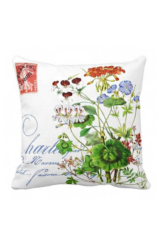 Pillow Cover Green Botanical Spring Flowers Cotton Pillows