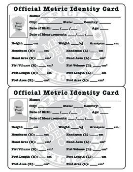 fun with the metric system metric identity card statistics activities teacherspayteachers. Black Bedroom Furniture Sets. Home Design Ideas