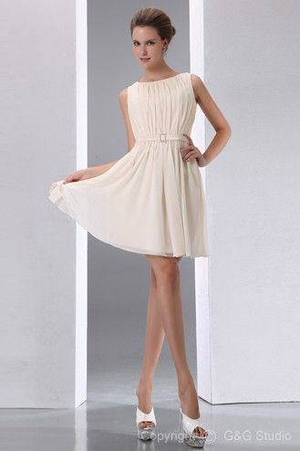 a6028815aff A-line Sleeveless Scoop Natural Knee-length Zipper Elegant Ruched Belt  Chiffon Ivory Homecoming Dress
