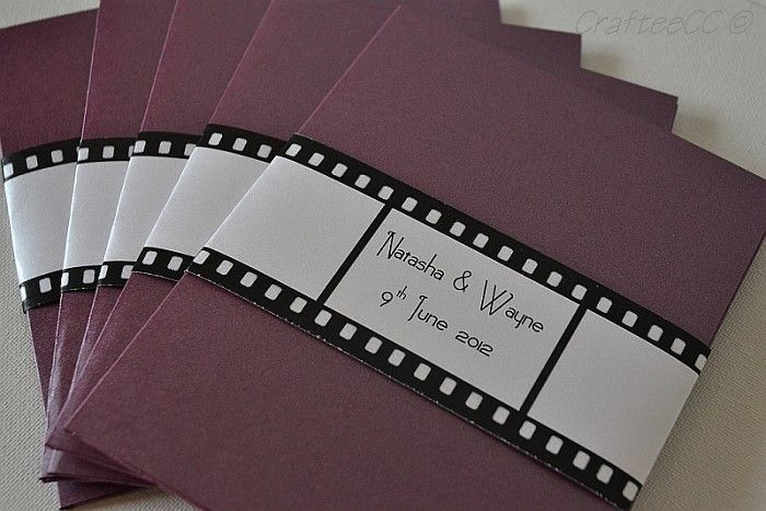 Hollywood Themed Customised Wedding Invitation by CrafteeCC on