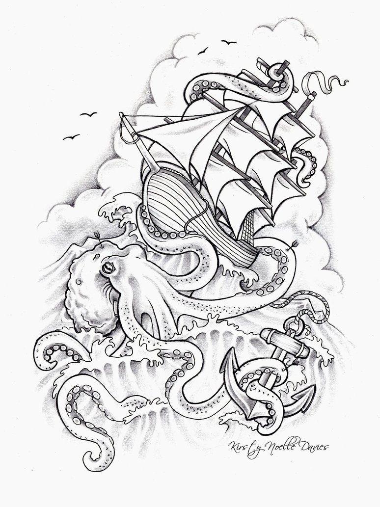 Octopus Sinking Ship Tattoo Design by kirstynoelledavies on
