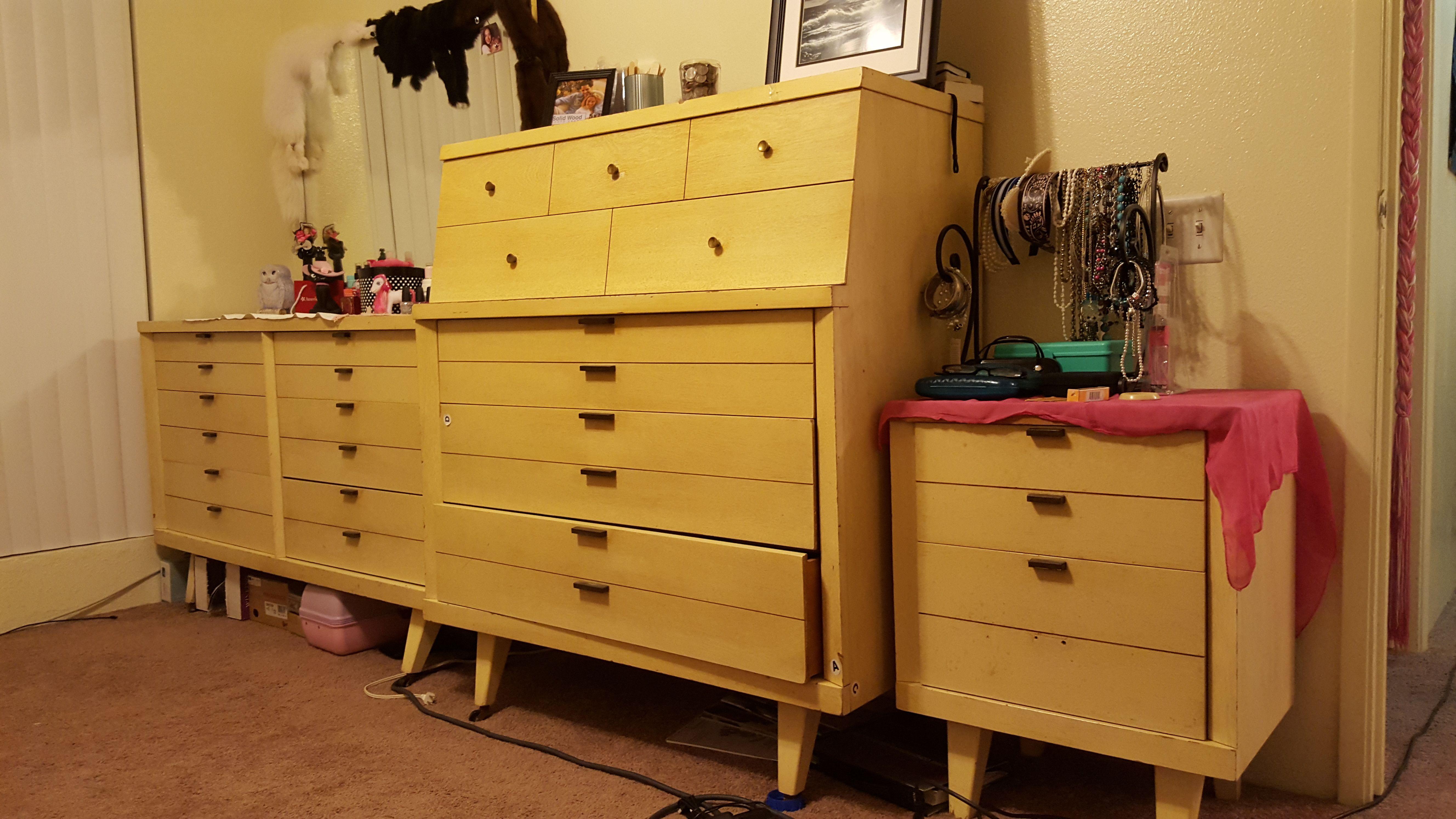 Dresser Set Before Huntley Furniture 1960s Blonde Wood Vintage