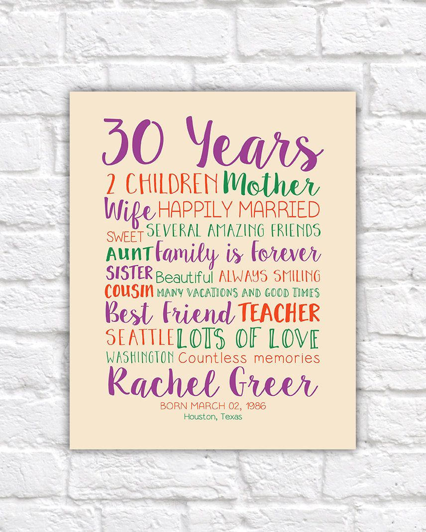 30th Birthday Gift Custom Art Gift for Wife by