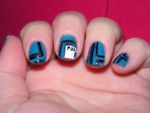 Tardis (inspired) nails
