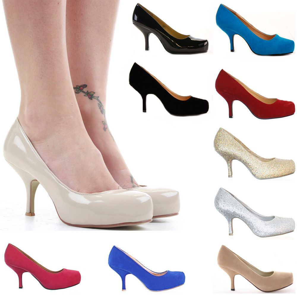 7c4a02ca4 Ladies Party Platform Work Pumps Low Mid Heels Prom Stiletto Court Shoes  Size
