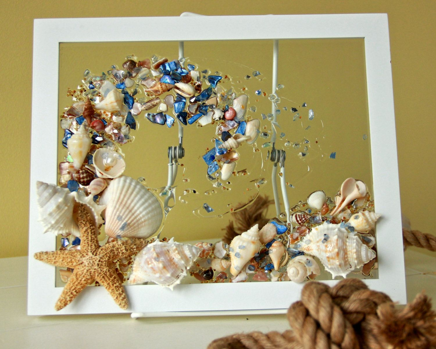 Sea Glass Wave, #Wall Hanging, #Beach Glass with Shells, #Shell ...