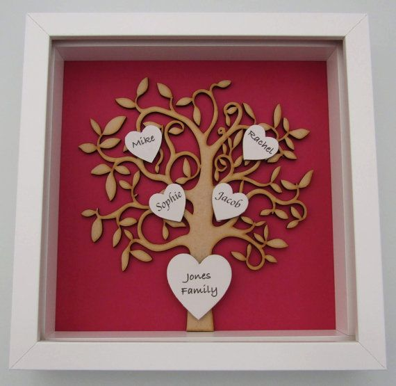 Personalised wooden family tree box frame with photos or for Handmade picture frame ideas