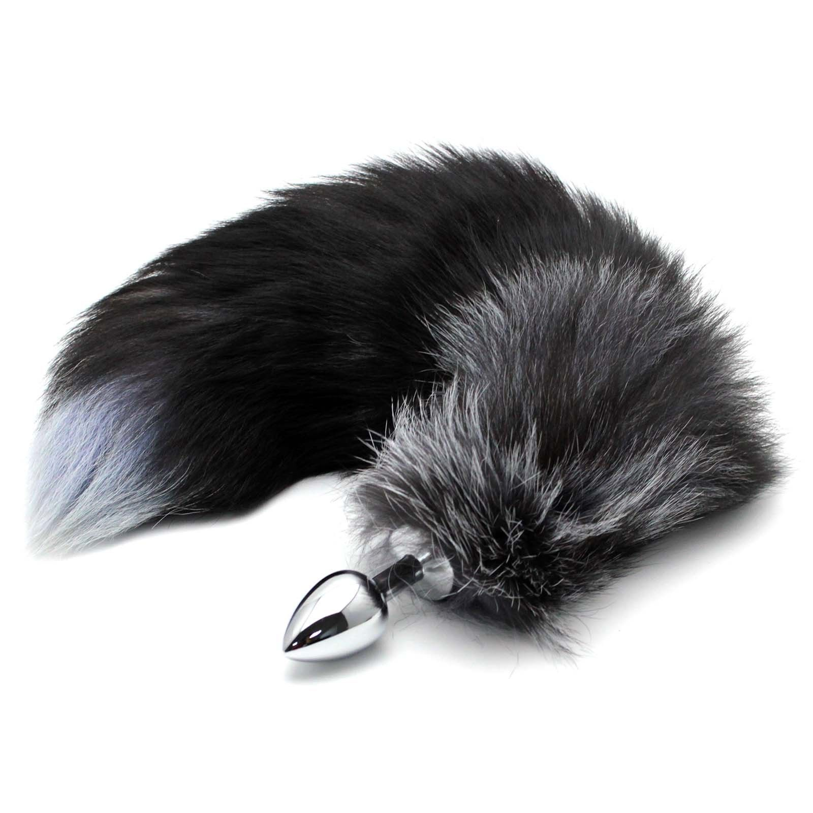 Funny False Fox Tail With Stainless Steel Plug Romance Black and Silver Game Toy