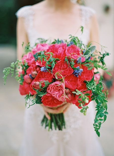 bright red garden roses with blue muscari and greenery - Red Garden Rose Bouquet