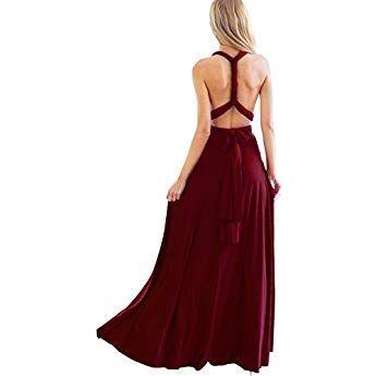 516f19771513 Women's Convertible Multi Way Wrap Maxi Robe Bridesmaid Evening Gown Long  Dress Burgundy Size 8/M