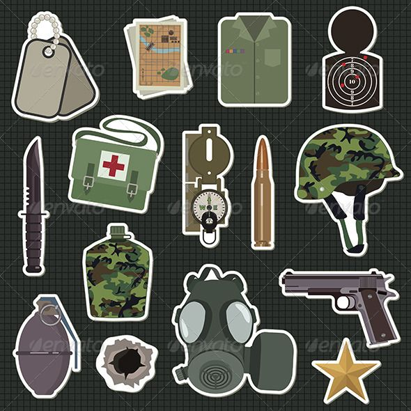 Military Stickers ...  army, bullet, bullet hole, camouflage, character, compass, dog tags, gas mask, graphic, grenade, gun, helmet, icon, illustration, knife, map, med kit, military, sticker, target, vector, water bottle