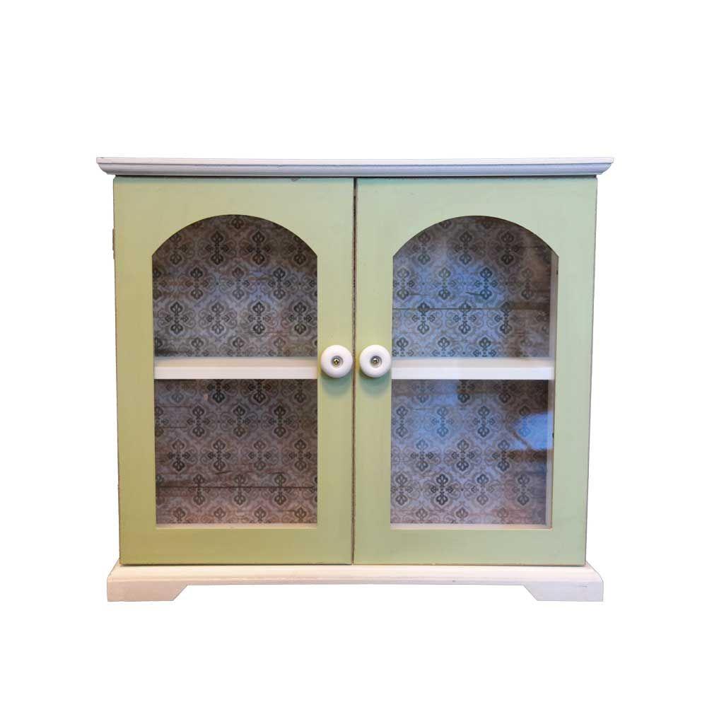 shabby chic kommode in weiß grün glastüren jetzt bestellen unter ... - Shabby Wohnzimmer Grun