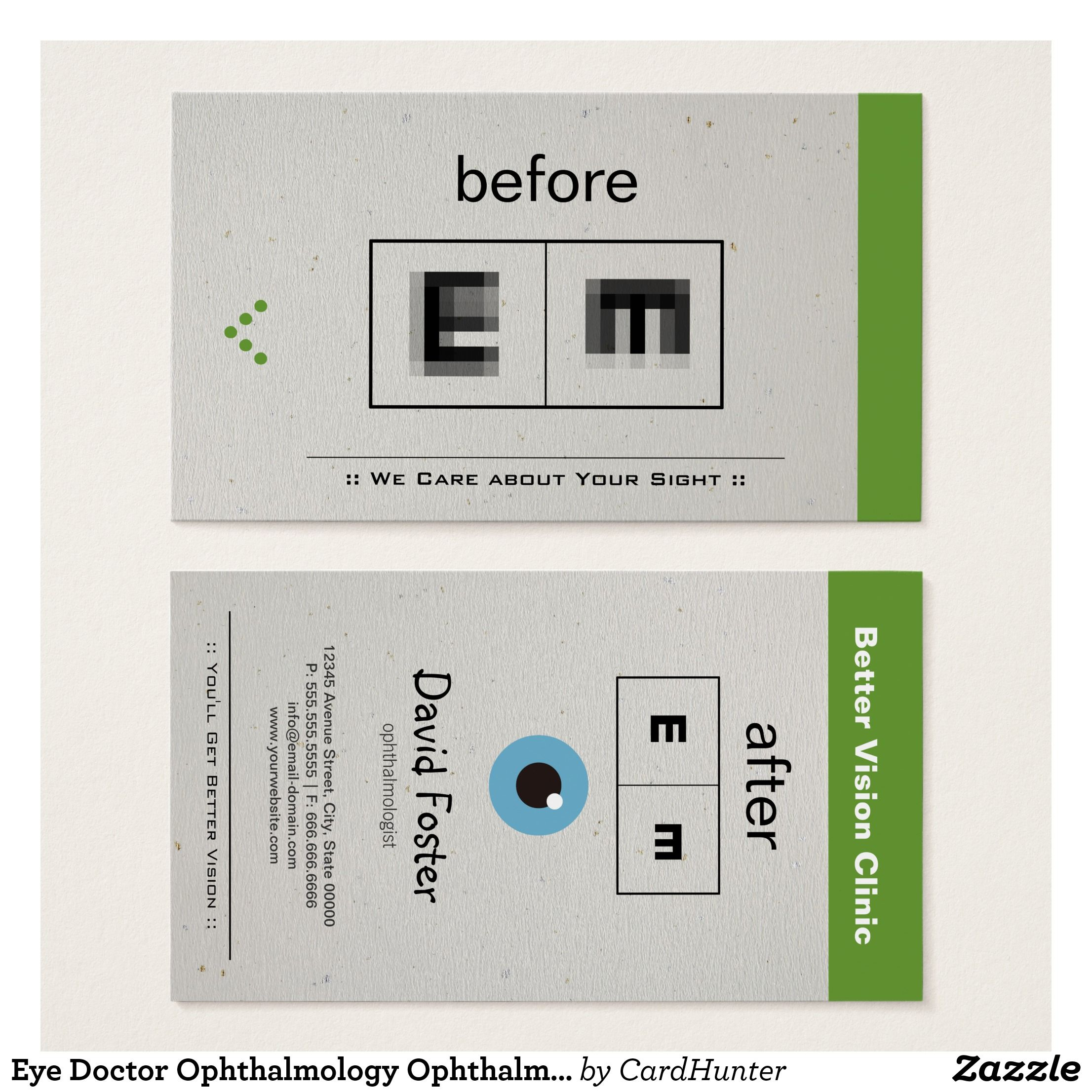 Eye Doctor Ophthalmology Ophthalmologist Optometry Business Card