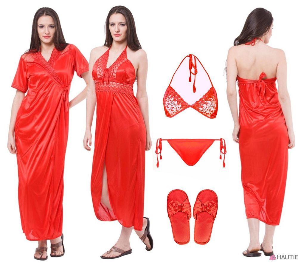 NEW LADIES SATIN NIGHTIE WOMENS SEXY 5PC LONG NIGHTWEAR SET 8-14 in Clothes 2581e70df