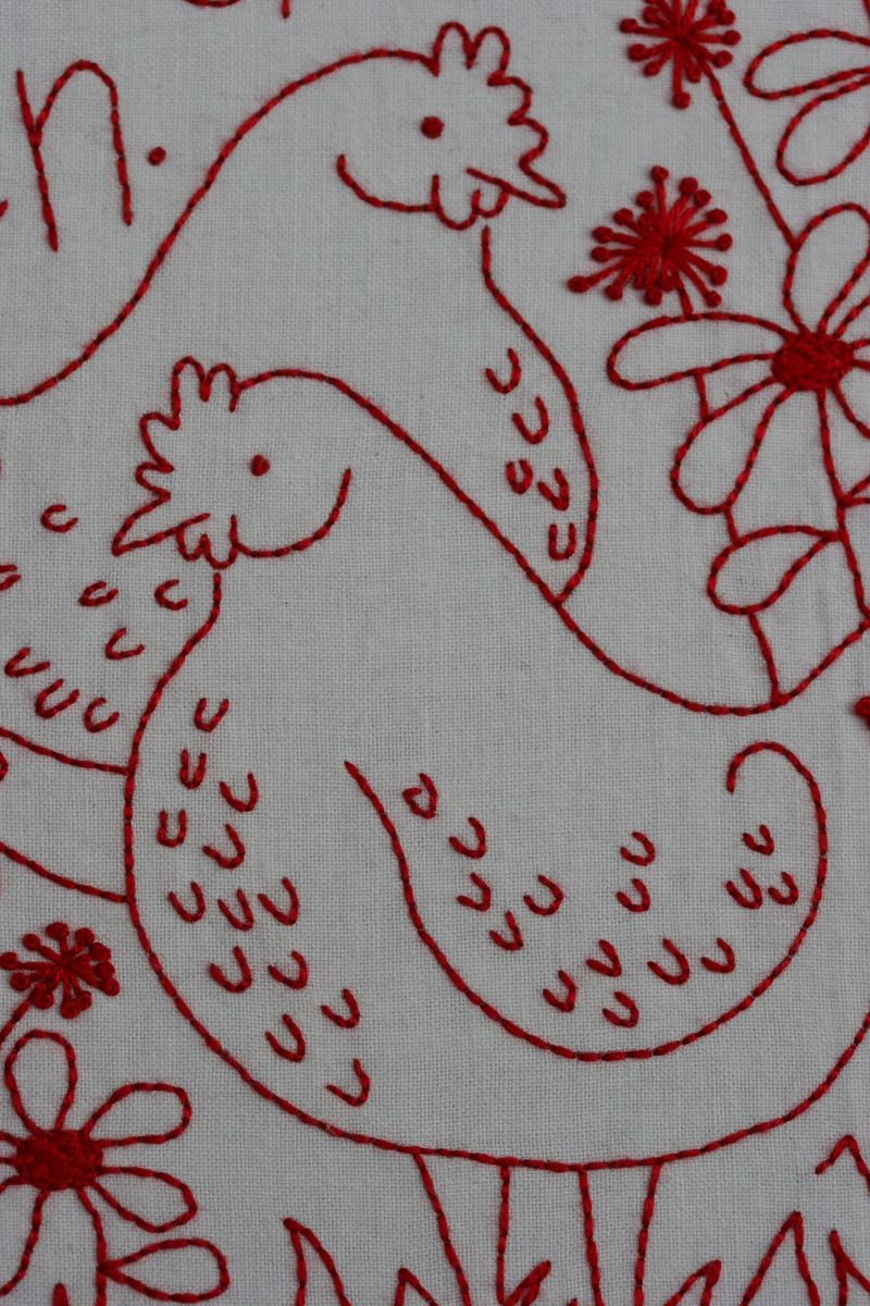 Redwork Patterns Free The pattern comes with an iron-on transfer for the framed stitchery as ...
