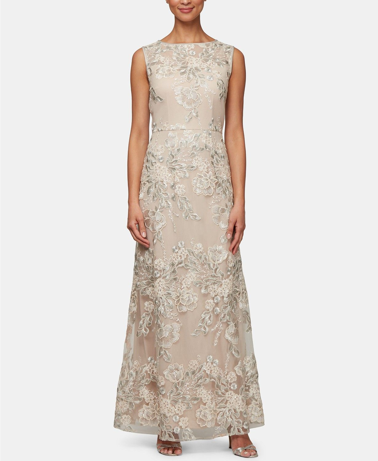 924f077fc3 Alex Evenings Petite Embroidered Mesh Gown   Reviews - Dresses - Petites -  Macy s