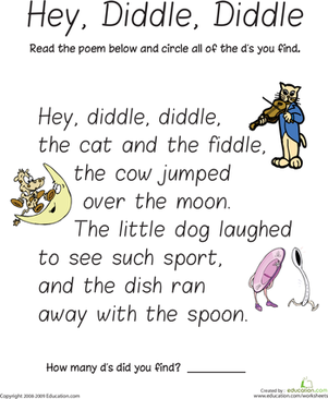 Find the Letter D: Hey Diddle Diddle | Poems, Circles and Phonics