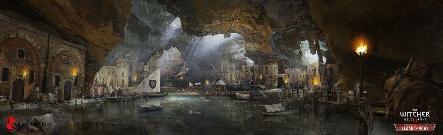The Witcher 3 Blood and Wine hidden harbor, Andrzej Dybowski on ArtStation at https://www.artstation.com/artwork/JJvKv