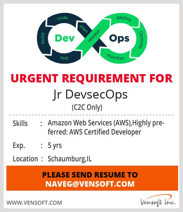 Jr Devsecops C2c Only Skills Amazon Web Services Aws Highly