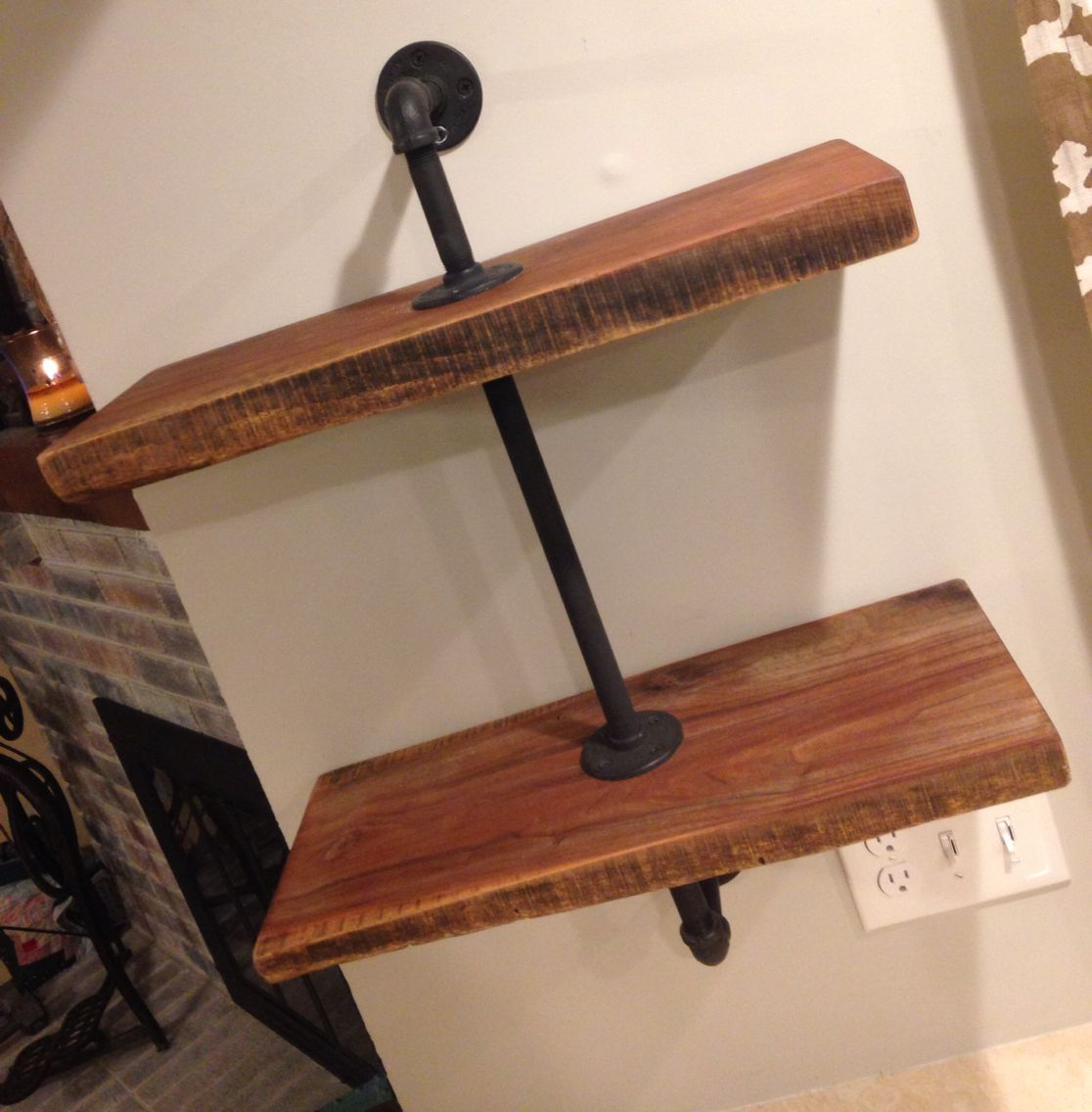 Salvaged Rough Cut Lumber With Black Pipe To Create A Great Looking Wall Shelf