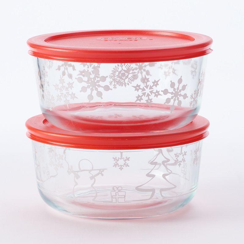 Pyrex 4 Pc Holiday Storage Set Multicolor Glass Storage