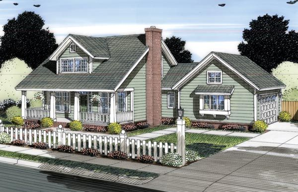 Elevation of Cape Cod Country House Plan 66533 Master downstairs ...