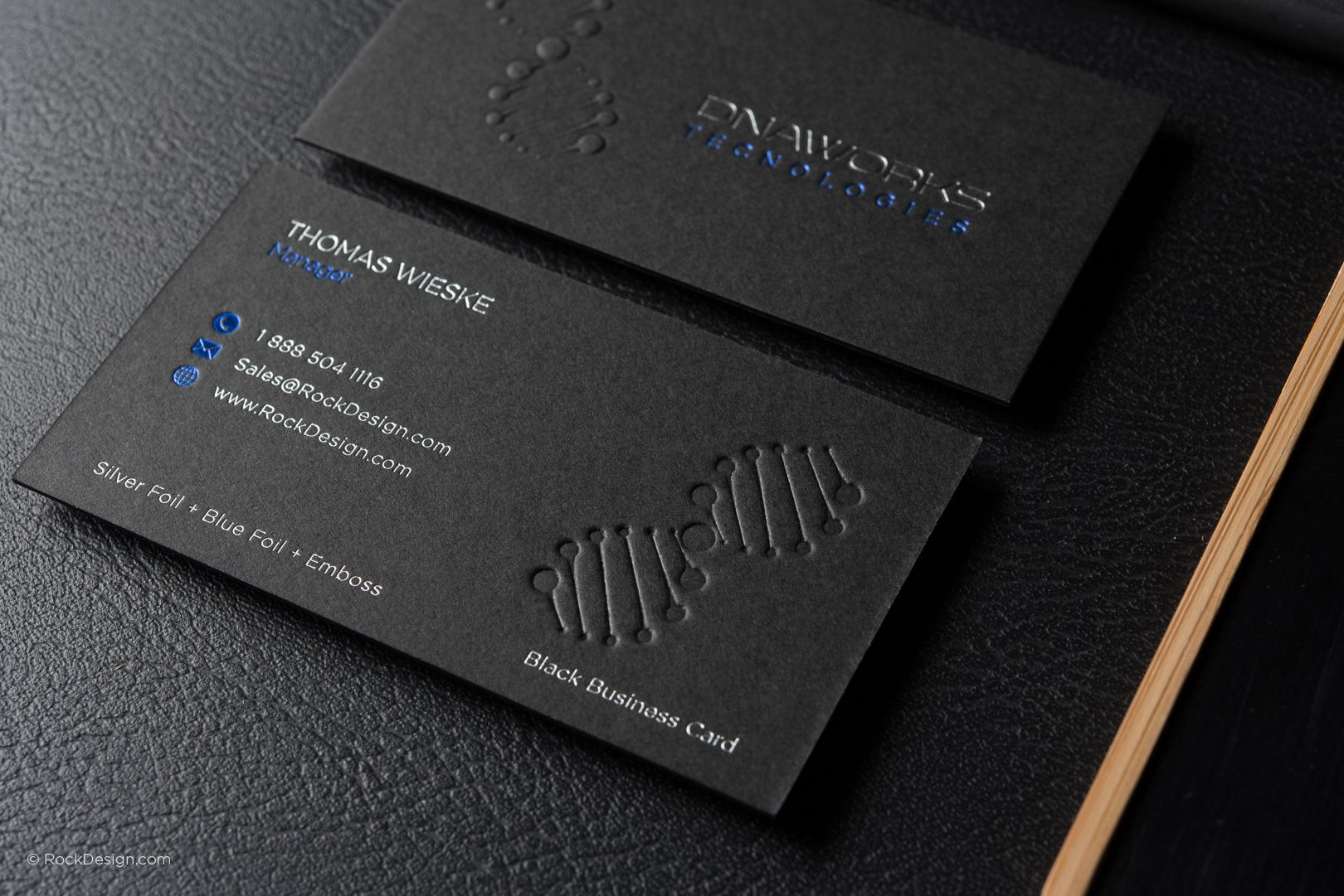 Modern Professional Black Business Card Template With Foil Dna Works Rockdesign Luxury