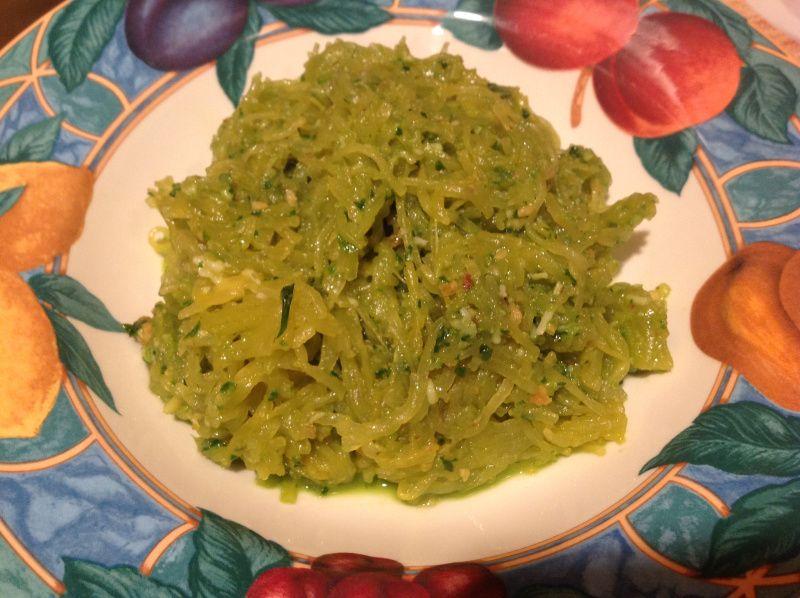 Spinach and walnut pesto w/ spaghetti squash