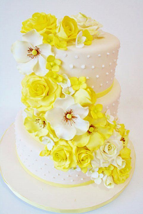 white wedding cake with yellow flowers - Google Search | свадебный ...