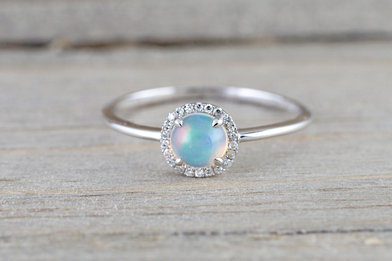 14k White Gold Round Opal Diamond Halo Engagement Promise Ring Anniversary Promise Wedding Love Design
