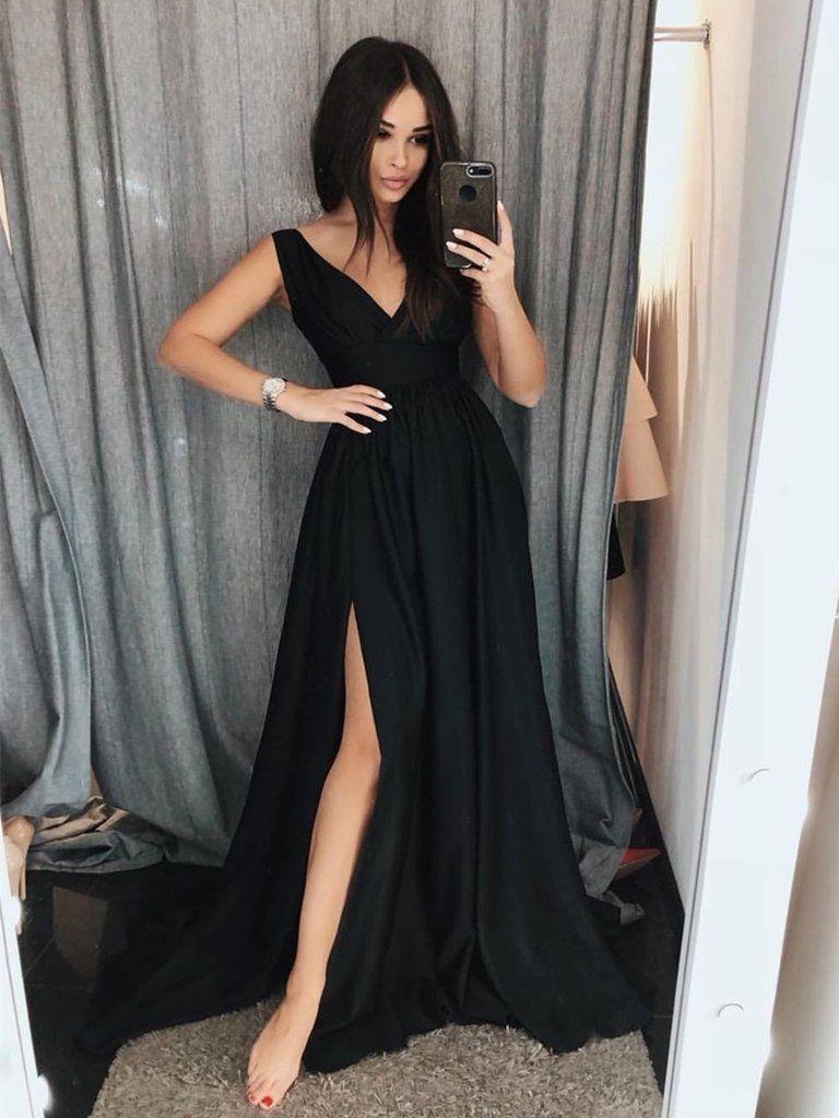 Simple v neck black prom dresses with train black formal dresses