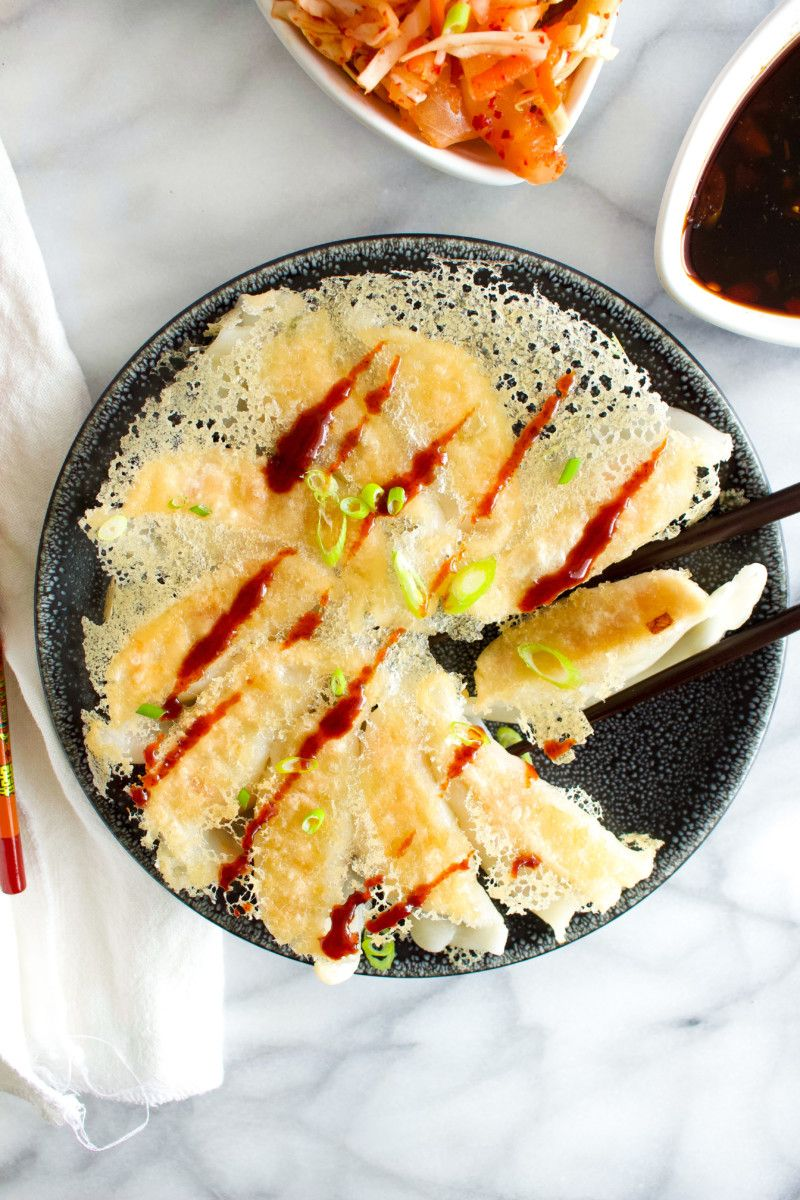 10Minute Potstickers with Kimchi Slaw Recipe Easy