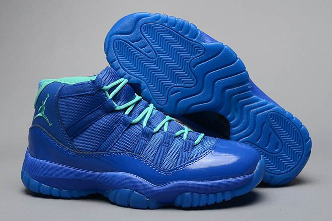 best service 41316 b2572 Air Jordan Retro 11 XI Blue and Green Color Mens Sports Shoe Dis