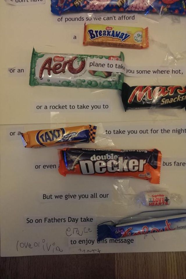 Father's Day message in sweets - great idea to use for lots of occasions