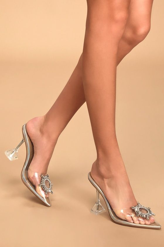Details about  /Womens Trendy Summer Peep Toe Rhinestones Slippers Kitten Mid Heels Sandals Shoe